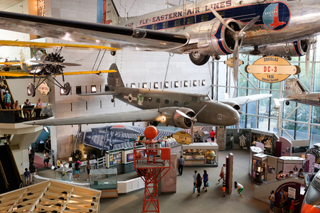 Historic planes and visitors at the National Air and Space Museum in Washington D.C. Editorial
