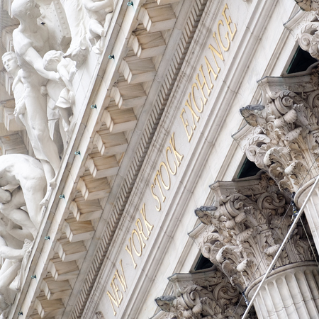 nyse: Detail of the New York Stock Exchange building at Wall Street in New York City Editorial