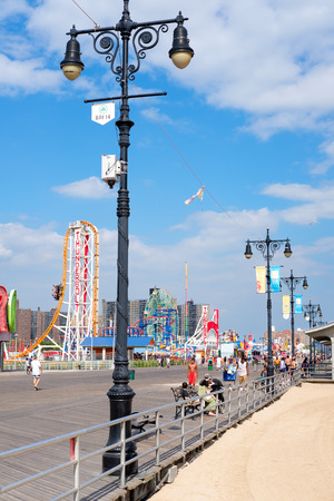 coney: The colorful seaside boardwalk at Coney Island in New York City
