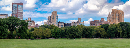 High resolution panorama of the Sheep Meadow in Central Park, New York City Stock Photo