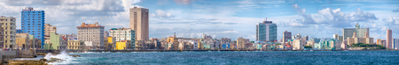 High resolution panoramic view of the Havana skyline and the famous seaside Malecon avenue Stok Fotoğraf - 65436213