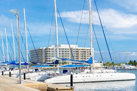Sailing boats docked at  the beautiful Marina at Varadero beach in Cuba