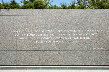 Wall with speech against war at the Martin Luther King Jr. National Memorial in Washington D.C.
