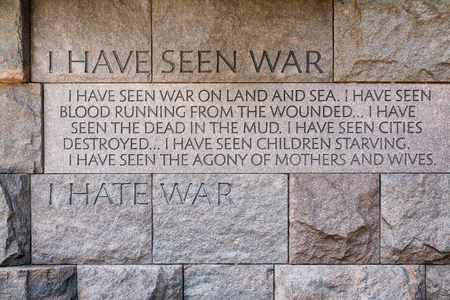 Wall with speech against war at the the Franklin Delano Roosevelt Memorial in Washington D.C.