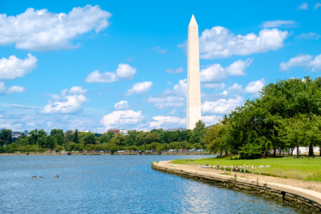 The Washington Monument seen across the Tidal Basin lake in Washington D.C. Stock Photo