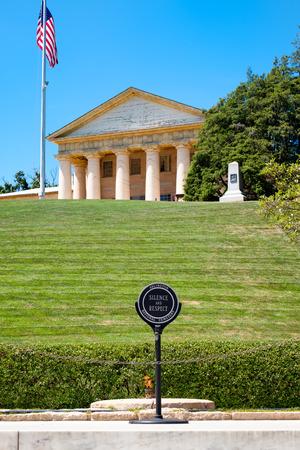 The Eternal Flame and the Robert E. Lee house at Arlington National Cemetery near Washington D.C.