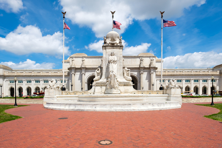 Union Station and the Colombus Fountain in Washington D.C. on a beautiful summer day Stock Photo