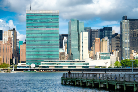 united nations: View of the midtown Manhattan skyline across the river from Queens including the United Nations building Stock Photo