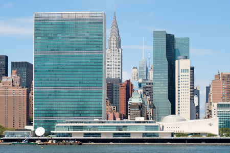 The United Nations Headquarters and several other skyscrapers in midtown Manhattan, New York City