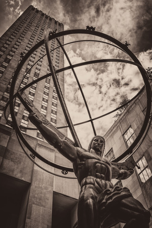 fifth avenue: Vintage toned image of the Statue of Atlas in New York Citys Fifth Avenue Stock Photo