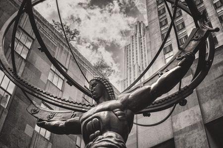 fifth: Vintage toned image of the Statue of Atlas in New York Citys Fifth Avenue Stock Photo