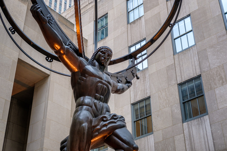 artdeco: The Statue of Atlas holding the celestial spheres in New York Citys Fifth Avenue