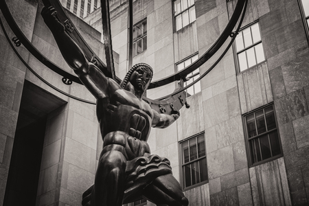 fifth avenue: Vintage toned statue of Atlas holding the celestial spheres in New York Citys Fifth Avenue Editorial