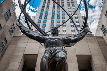 fifth avenue: The Statue of Atlas holding the celestial spheres in New York Citys Fifth Avenue