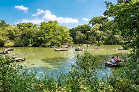 rowboats: Rowboats at The Lake at Central Park in New York City on a beautiful summer day