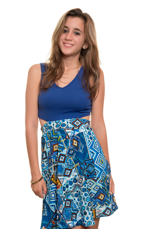 teenage girl: Beautiful teenage girl with a casual dress , isolated on white background Stock Photo