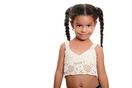 small girl: Portrait of a cute african american small girl isolated on a white background Stock Photo