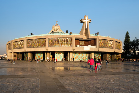 basilica: People arriving for an early morning mass at the Basilica of Our Lady of Guadalupe in Mexico City