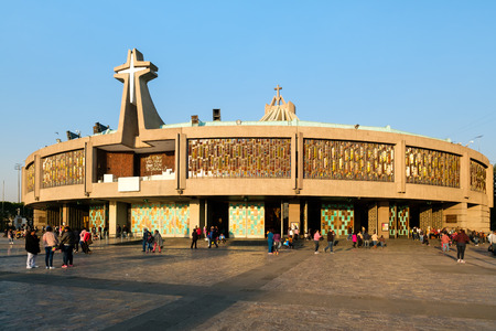 People arriving for an early morning mass at the Basilica of Our Lady of Guadalupe in Mexico City