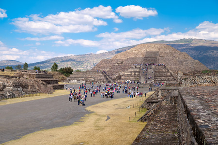 tourist site: The Pyramid of the Moon  and the Avenue of the Dead at Teotihuacan, a major archaelogical site near Mexico City