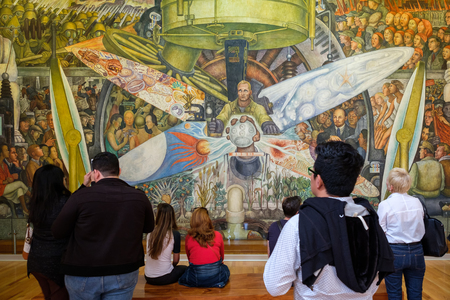 arts: Visitors admiring the mural painting by Diego Rivera at the museum of Palacio de Bellas Artes in Mexico City