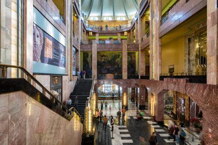 artdeco: Visitors at the museum inside the Palacio de Bellas Artes in Mexico City