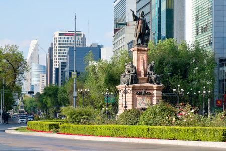 Street scene at Paseo de la Reforma in Mexico City near the Christopher Columbus statue Editorial
