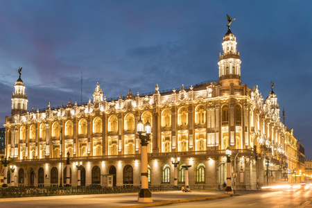 The Great Theater of Havana, home of the Cuban National Ballet, illuminated at sunset Stock Photo