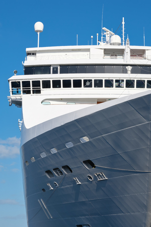 ship bow: Bow of a modern cruise ship with a blue sky background