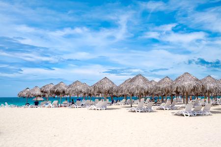 varadero: Umbrellas on the sand at a resort on Varadero beach in Cuba
