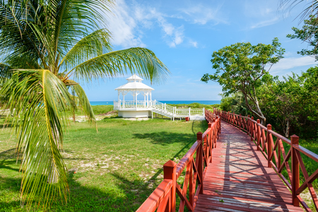 varadero: Wooden walkway leading to the shore at the beautiful beach of Varadero in Cuba
