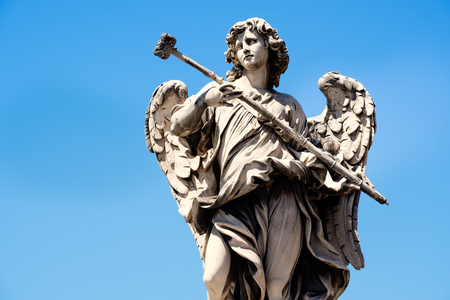 Ancient statue of an angel at Ponte SantAngelo or Aelian Bridge in Rome Stock Photo