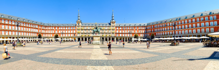 Panoramic view of the Plaza Mayor in central Madrid with the equestrian statue of Philip III