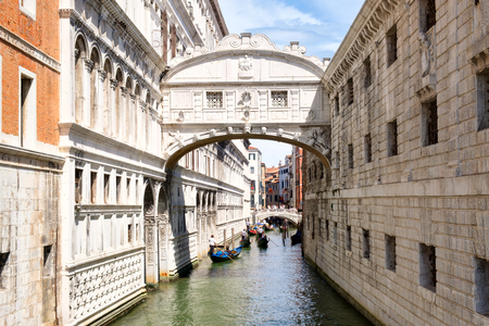 The Bridge of Sighs, a romantic symbol of the city of Venice in Italy Stock Photo