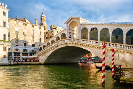 The Rialto Bridge over the Grand Canal in the city of Venice, Italy Stock Photo