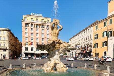 The Triton Fountain by Gian Lorenzo Bernini at Piazza Barberini in the historic center of Rome