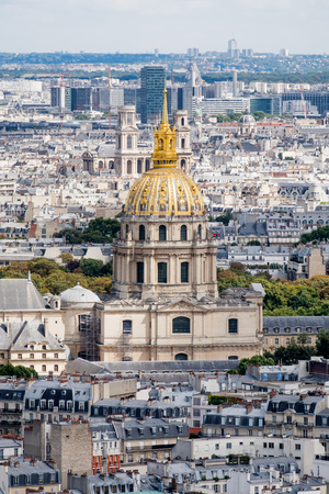 arial view: Arial view of the golden dome of Les Invalides in Paris, France