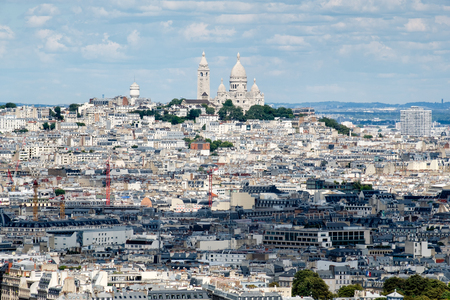Aerial view of central Paris and the Montmartre hill including the Sacre Coeur Basilica Stock Photo