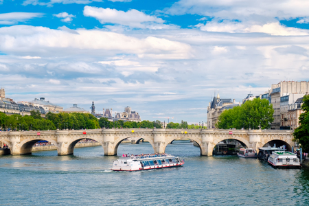 The river Seine and the Pont Neuf in central Paris on a summer day Stock Photo