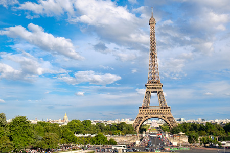 The Eiffel Tower in Paris on a beautiful summer day