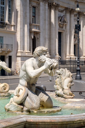 Detail of the Moor Fountain at Piazza Navona in central Rome