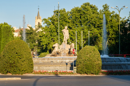 The Fountain of Neprune in Madrid, the meeting point for Atletico de Madrid Football Club fans