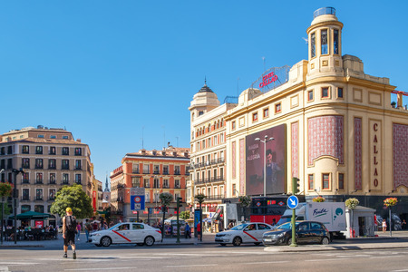 MADRID,SPAIN - AUGUST 6, 2017 : Gran Via and Plaza Callao in Madrid, the most important shopping and entertainment area in the spanish capital