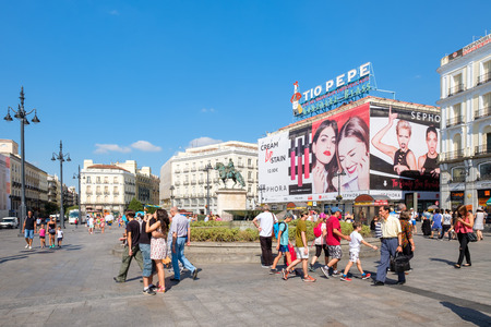 MADRID,SPAIN - AUGUST 9, 2017 : Puerta del Sol in Madrid, the center and most well known place of the spanish capital
