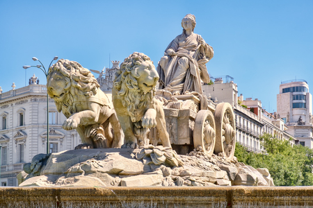 The famous Fountain of Cibeles, a symbol of Madrid