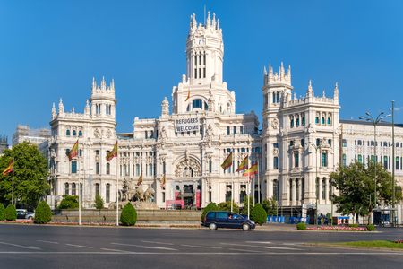 The famous Cibeles Square and the Communications Palace, symbols of the city of Madrid