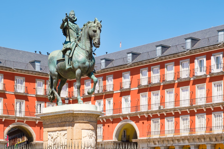 Plaza Mayor, a historic square in Madrid with the equestrian statue of King Philip III