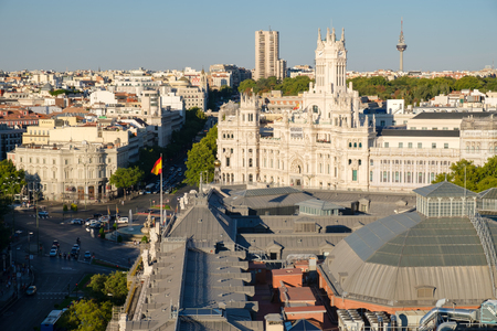 Aerial view of Central Madrid next to Plaza de Cibeles and the Communications Palace