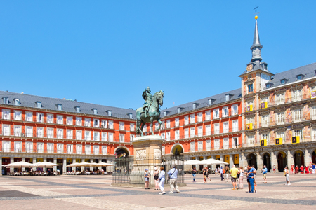 Tourists at Plaza Mayor, a historic square in Madrid