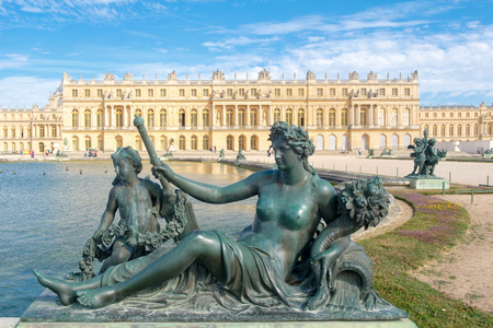 The royal Palace of Versailles near Paris on a beautiful summer day in France